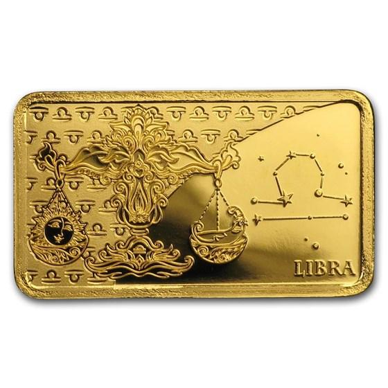 2020 Solomon Islands 1/2 Gram Gold Zodiac Ingot (Libra)