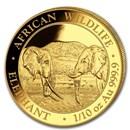 2020 Somalia 1/10 oz Gold African Elephant BU