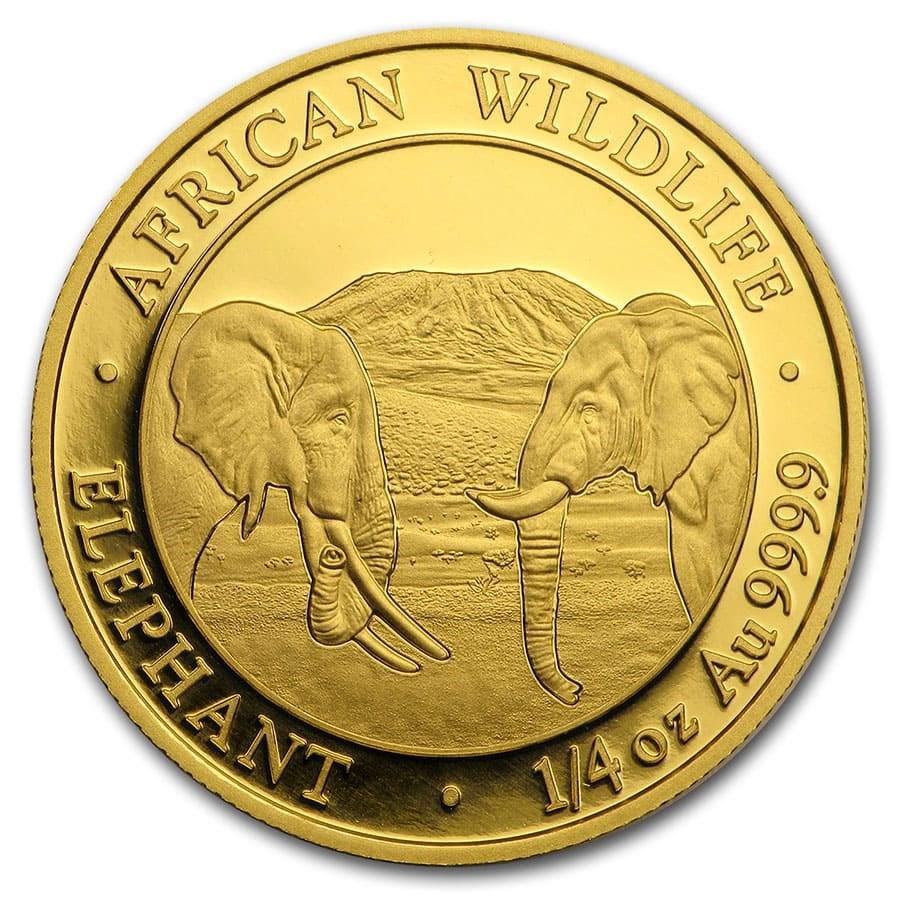 2020 Somalia 1/4 oz Gold African Elephant BU