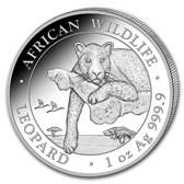 2020 Somalia 1 oz Silver African Wildlife Leopard BU