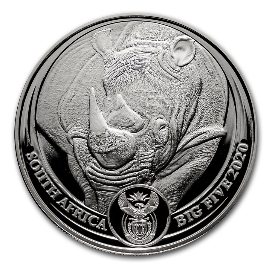 2020 South Africa 1 oz Silver Big Five Rhino BU
