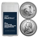 2020 South Africa 1 oz Silver Krugerrand 25-Coin MintDirect® Tube