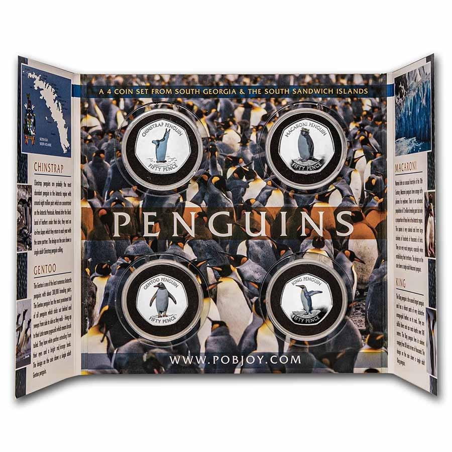 2020 South Georgia Cu-Nickel 50p Penguins Set: Collector's Album