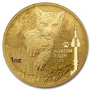 2020 South Korea 1 oz Gold Tiger BU (w/Box & COA)