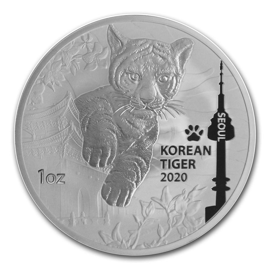 2020 South Korea 1 oz Silver Tiger BU
