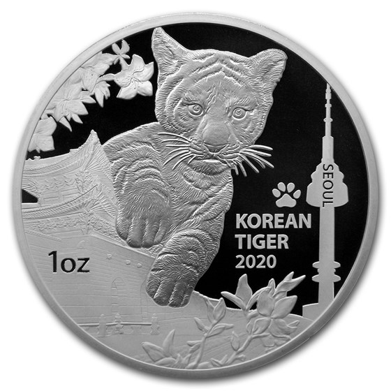 2020 South Korea 1 oz Silver Tiger Proof (with Box & COA)