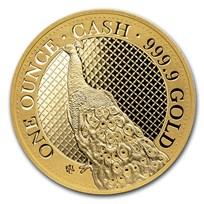 2020 St. Helena 1 oz Gold Cash India Wildlife Peacock (Box & COA)