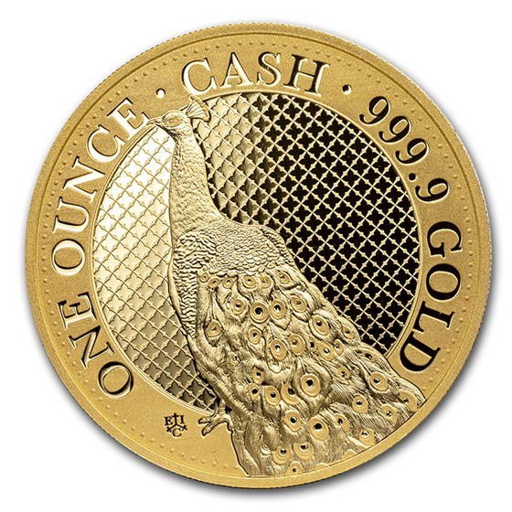2020 St. Helena 1 oz Gold Cash India Wildlife Peacock (Box & COA)