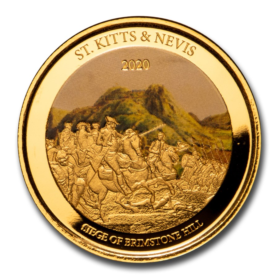 2020 St. Kitts and Nevis 1 oz Gold Brimstone Hill (Colorized)