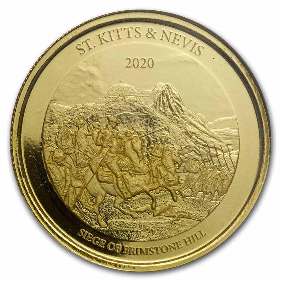 2020 St. Kitts & Nevis 1 oz Gold Brimstone Hill BU