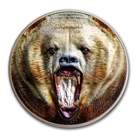 2020 Tanzania 2 oz Silver Rare Wildlife Proof: Grizzly Bear