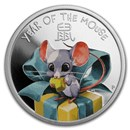 2020 Tuvalu 1/2 oz Silver Lunar Baby Mouse Proof (Colorized)