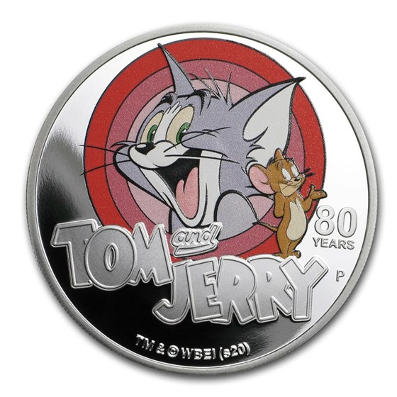 2020 Tuvalu 1 oz Proof Silver Tom and Jerry 80th Anniversary