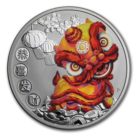2020 Tuvalu 1 oz Silver Chinese New Year Dragon Proof (Colorized)