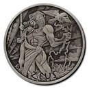 2020 Tuvalu 1 oz Silver Gods of Olympus Antiqued (Zeus)