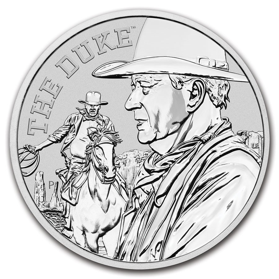 2020 Tuvalu 1 oz Silver John Wayne BU