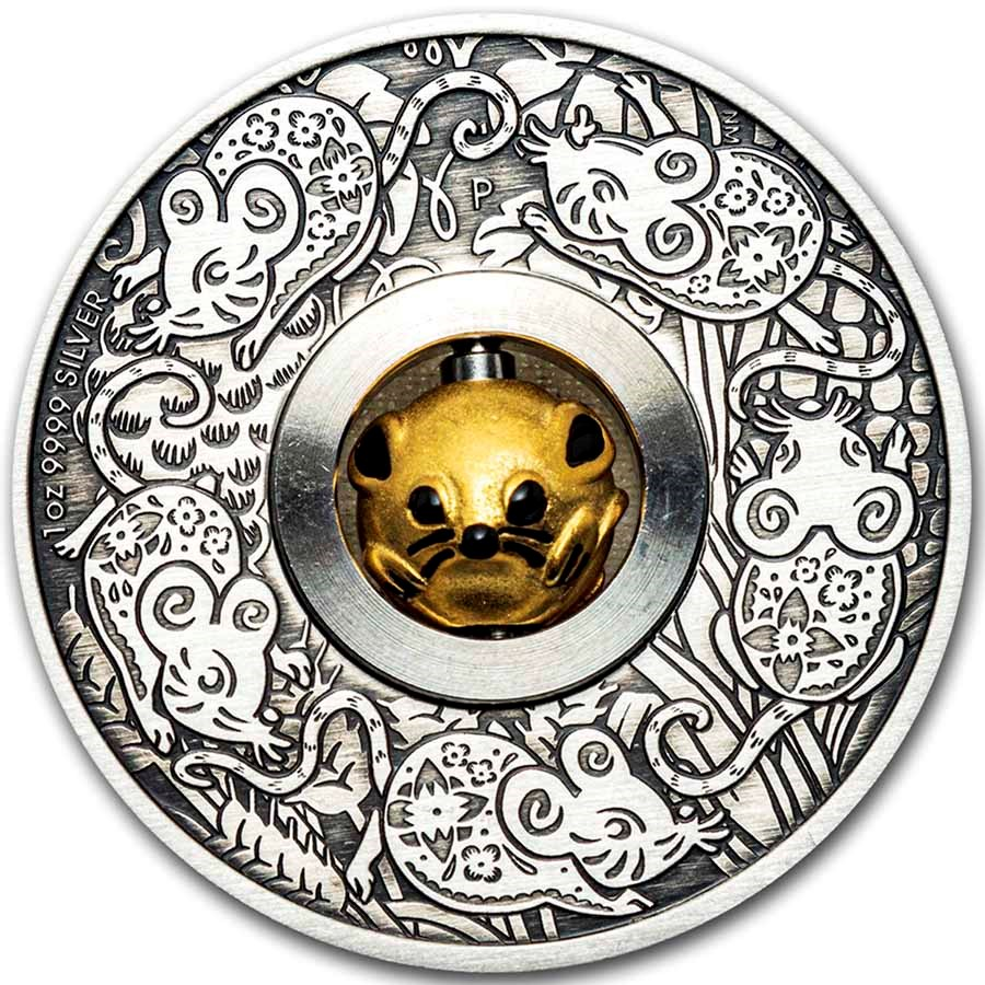 2020 Tuvalu 1 oz Silver Year of the Mouse Rotating Charm Antiqued