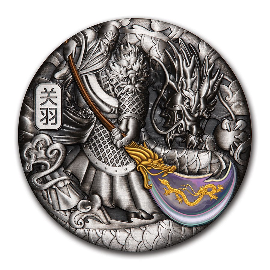 2020 Tuvalu 5 oz Silver Guan Yu (Colorized, Antiqued)