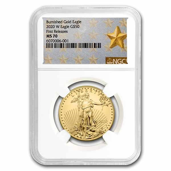 2020-W 1 oz Burnished Gold Eagle MS-70 NGC (First Releases)