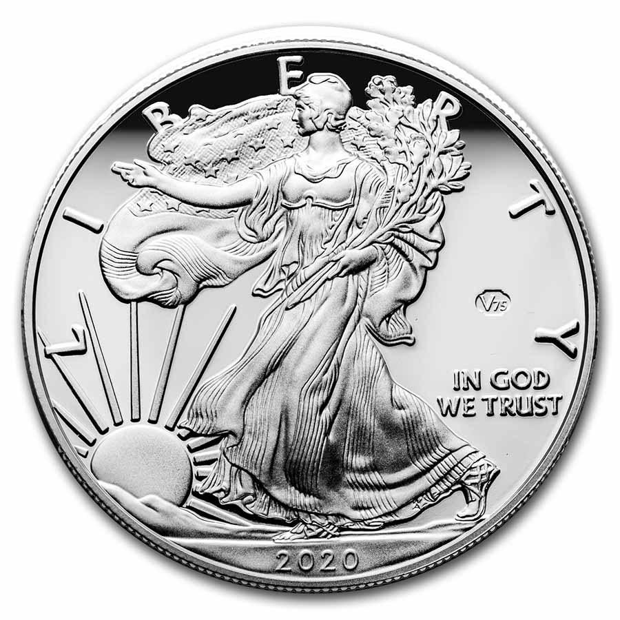 2020-W 1 oz Proof American Silver Eagle (End of WW2, V75 Privy)