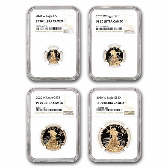 2020-W 4-Coin Proof American Gold Eagle Set PF-70 NGC