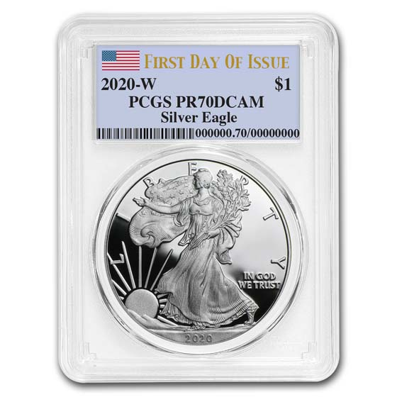 2019-W PROOF SILVER EAGLE-PCGS PR70-FIRST DAY OF ISSUE-MERCANTI-FLAG-POP 300!!!