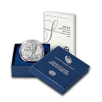 2020-W Burnished American Silver Eagle (w/Box & COA)