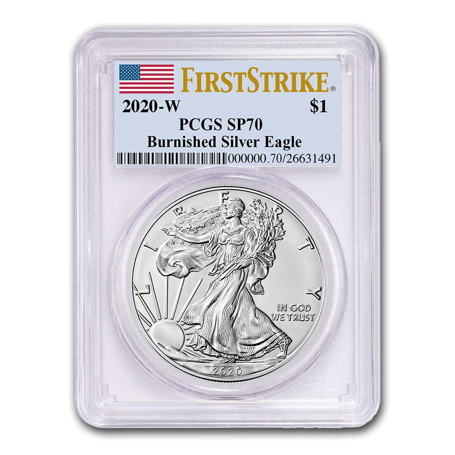 2020-W Burnished Silver American Eagle SP-70 PCGS (FirstStrike®)