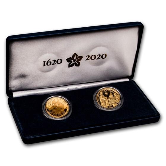 2020-W Gold Mayflower 400th Anniversary 2-Coin Set