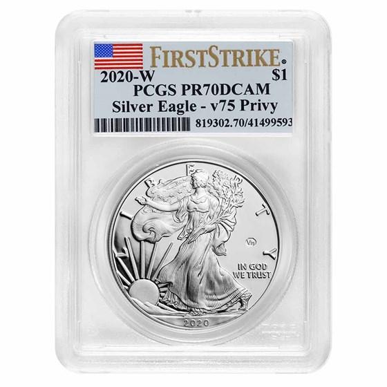 2020-W Proof American Silver Eagle PR-70 PCGS (FS, V75 Privy)