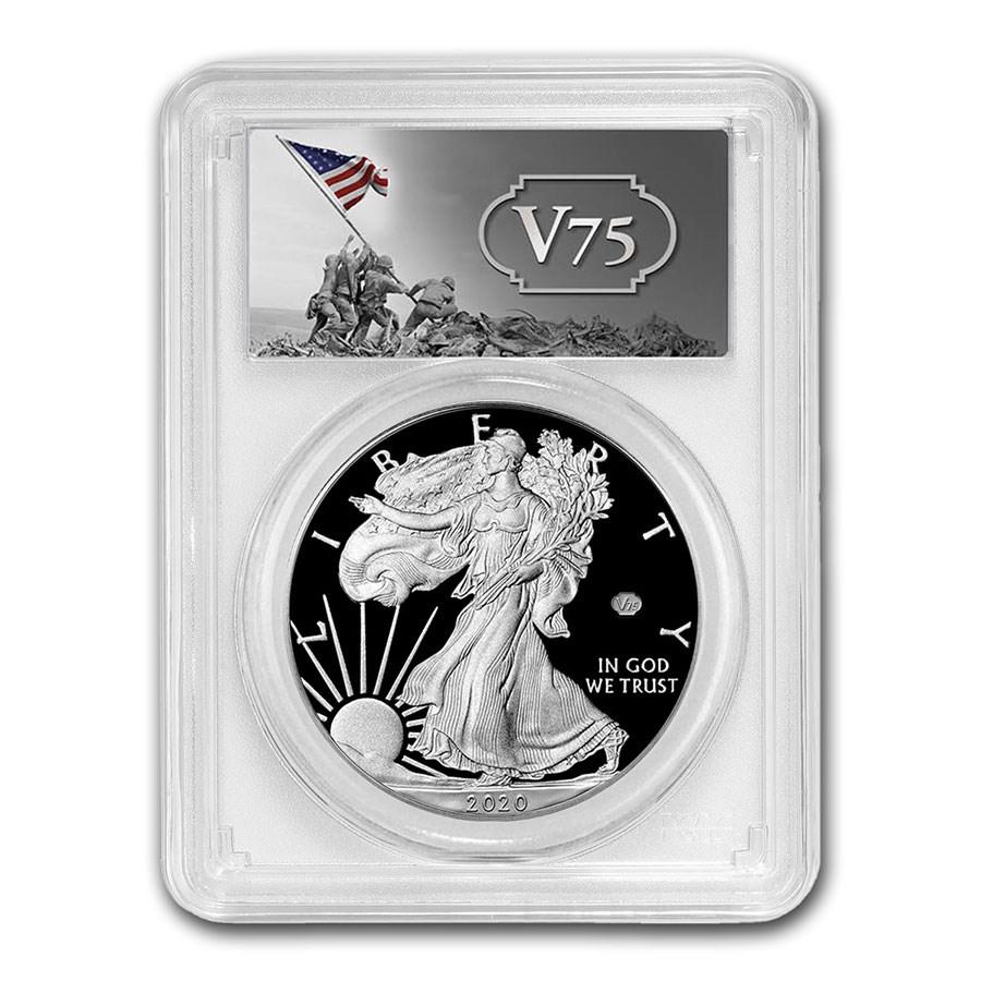 2020-W Proof Silver Eagle PR-70 PCGS (FDI, V75 Privy, WW2 Label)