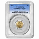 2021 1/10 oz American Gold Eagle MS-70 PCGS (Type 2)