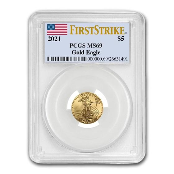2021 1/10 oz American Gold Eagle (Type 1) MS-69 PCGS (FS®)