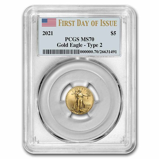 2021 1/10 oz American Gold Eagle (Type 2) MS-70 PCGS (FDI)