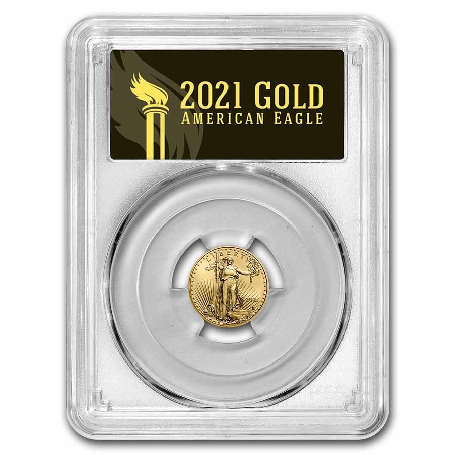 2021 1/10 oz American Gold Eagle (Type 2) MS-70 PCGS (FS®, Black)