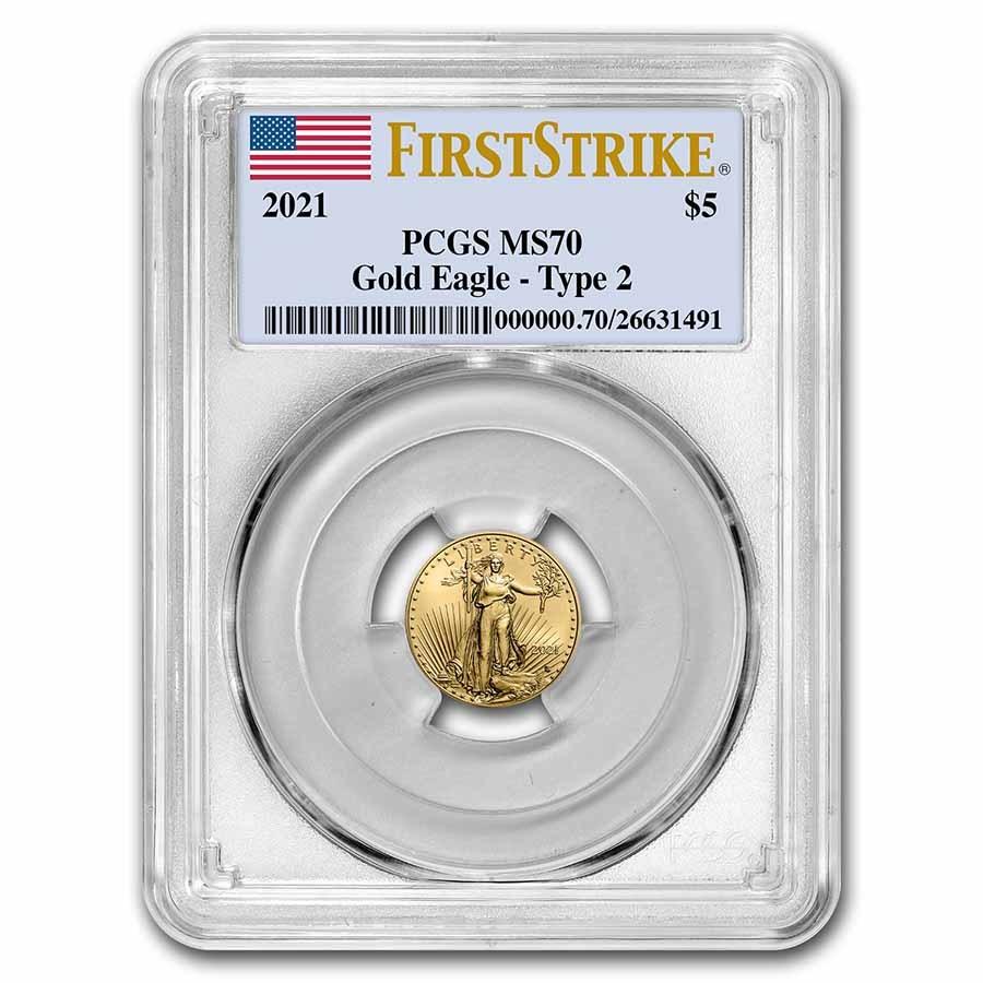 2021 1/10 oz American Gold Eagle (Type 2) MS-70 PCGS (FS®)