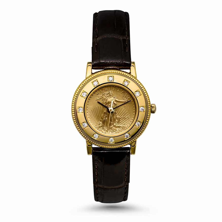 2021 1/10 oz Gold American Eagle Ladies Leather Band Watch