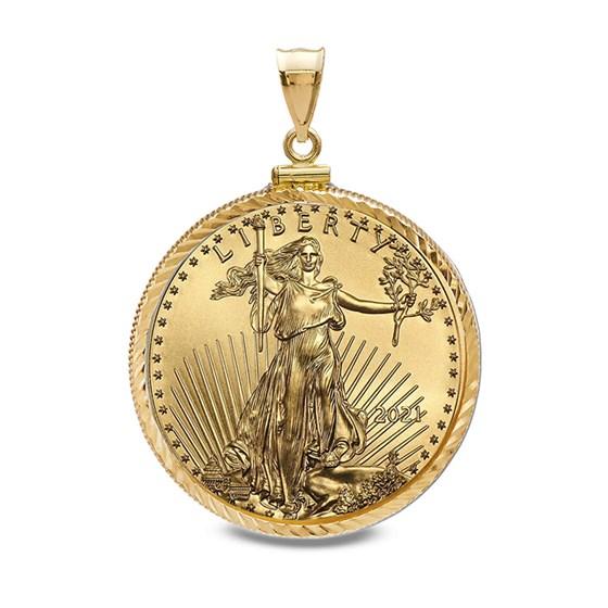 2021 1/10 oz Gold Eagle Pendant (Diamond-ScrewTop Bezel)