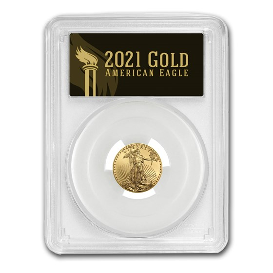 2021 1/10 oz Gold Eagle (Type 1) MS-70 PCGS (First Day, Black)
