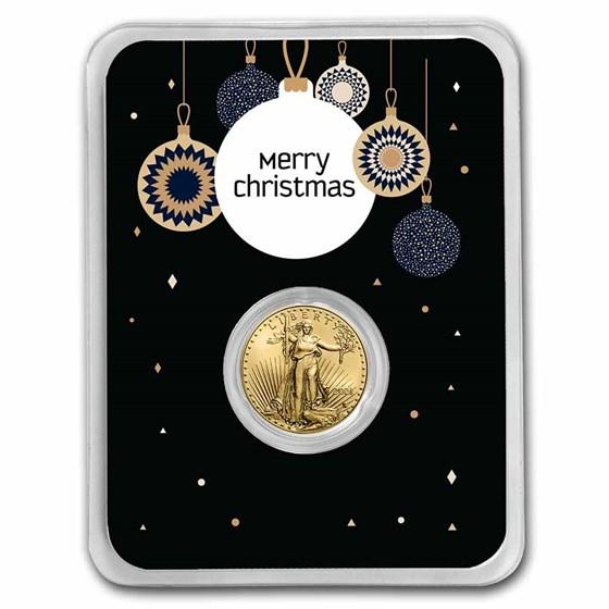 2021 1/10 oz Gold Eagle Type 2 - w/Elegant Merry Christmas Card