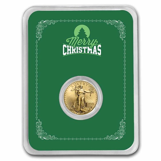 2021 1/10 oz Gold Eagle Type 2 - w/Green Merry Christmas Card