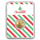2021 1/10 oz Gold Eagle Type 2 - w/Merry Christmas Tree Card