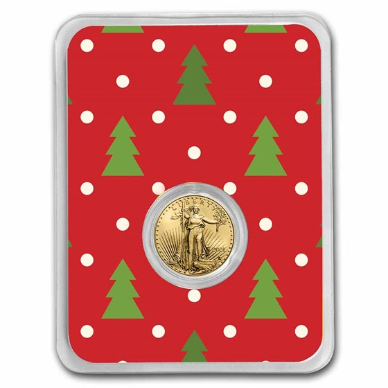 2021 1/10 oz Gold Eagle Type 2 - w/Red Christmas Trees Card