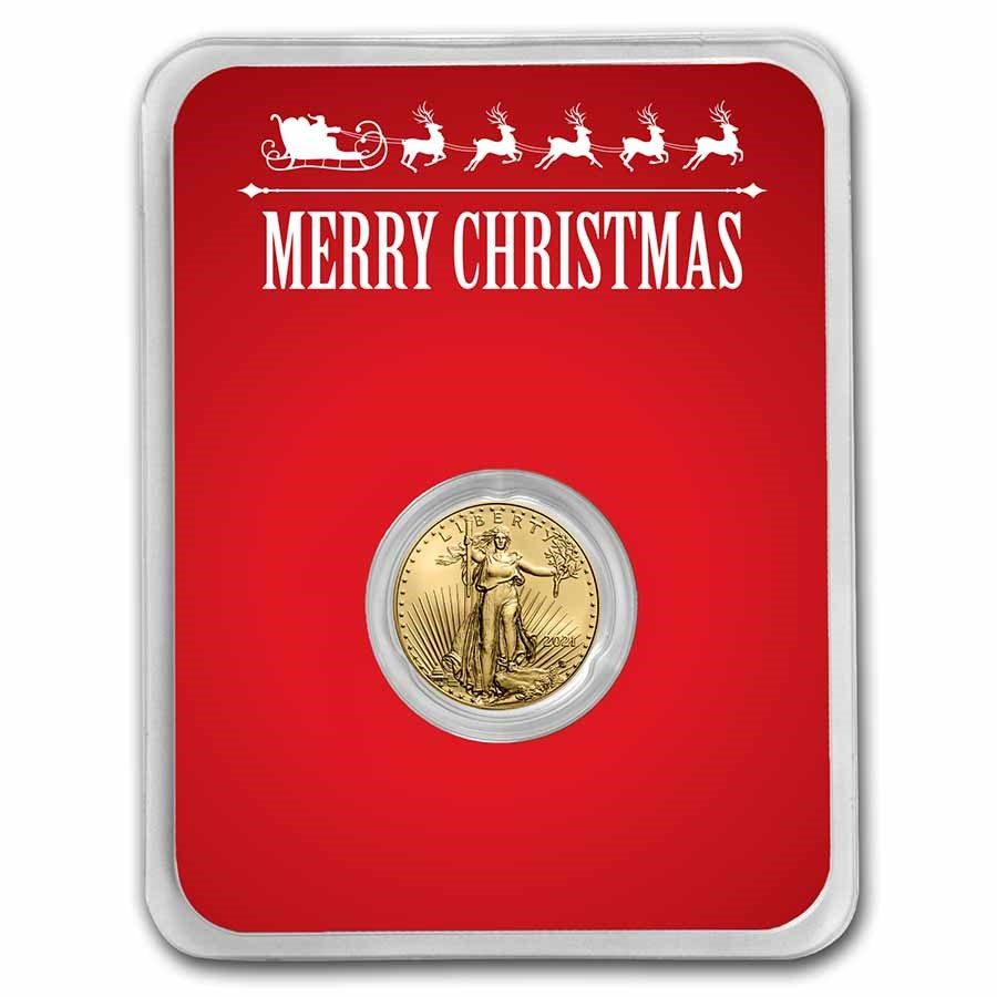2021 1/10 oz Gold Eagle Type 2 - w/Red Merry Christmas Card