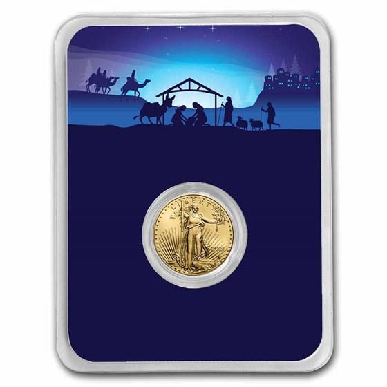 2021 1/10 oz Gold Eagle Type 2 - w/Starry Night Nativity Card