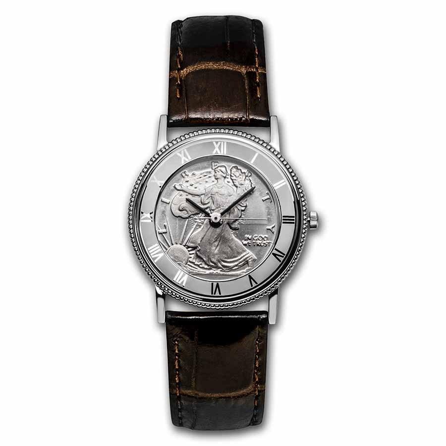 2021 1/10 oz Silver Walking Liberty Leather Band Watch