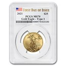 2021 1/2 oz American Gold Eagle MS-70 PCGS (First Day of Issue)