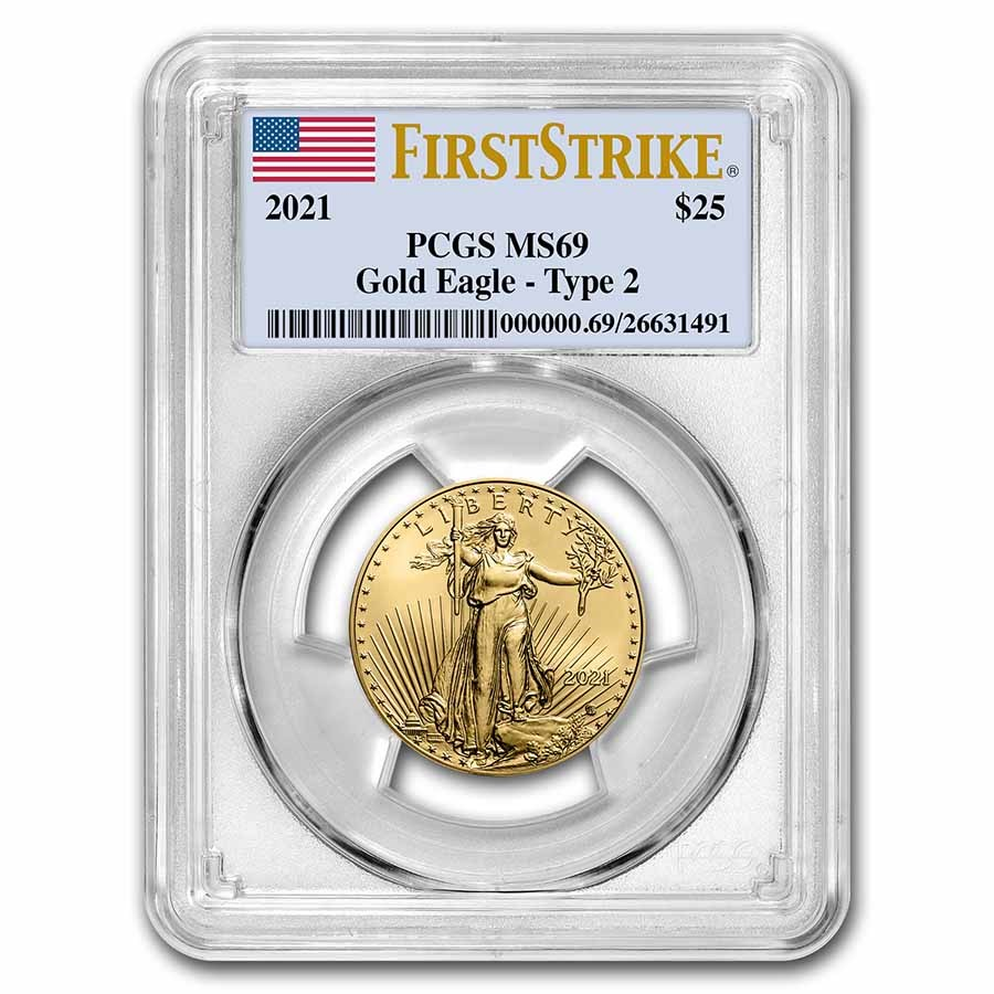 2021 1/2 oz American Gold Eagle (Type 2) MS-69 PCGS (FS®)