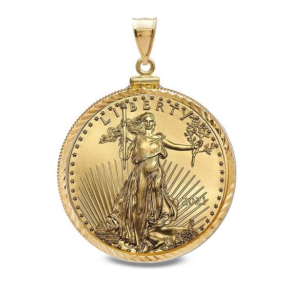 2021 1/2 oz Gold Eagle Pendant (Diamond-ScrewTop Bezel)