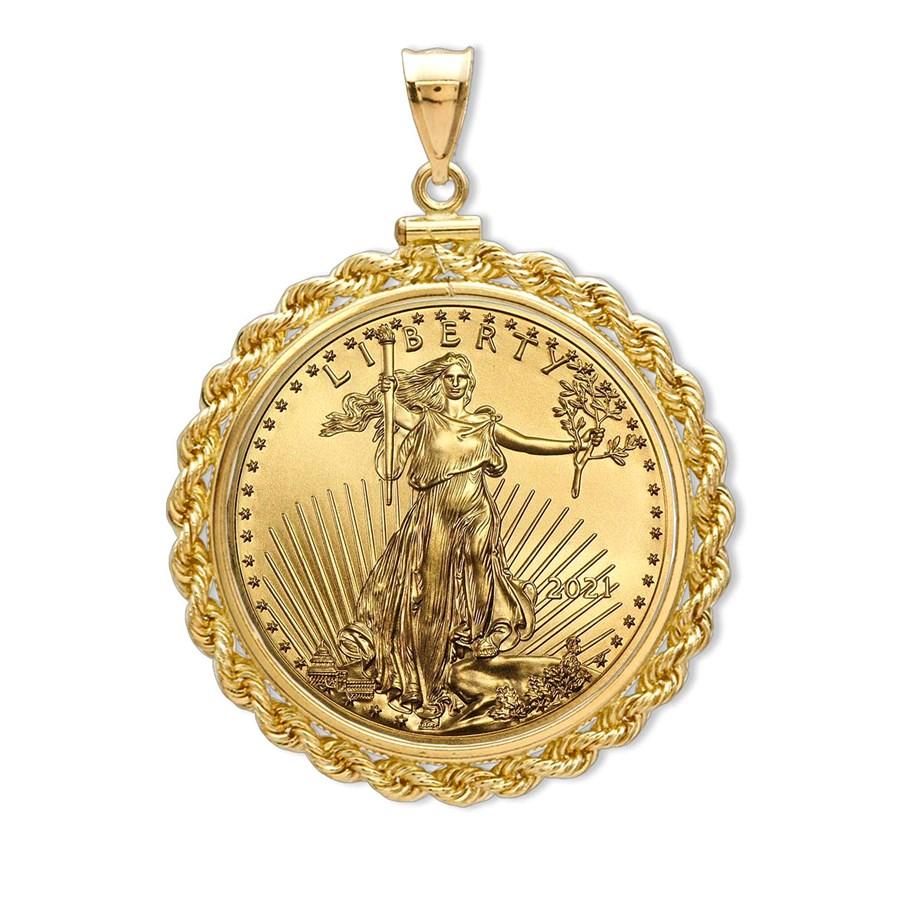 2021 1/2 oz Gold Eagle Pendant (Rope-ScrewTop Bezel)